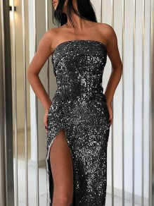Black Patchwork Sequin Off Shoulder Thigh High Side Slits Sparkly Glitter Birthday Party Maxi Dress