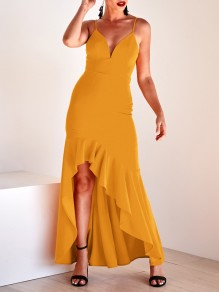 Yellow Ruffle Irregular High-Low Spaghetti Strap Backless V-neck Elegant Maxi Dress