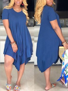 Navy Blue Pleated Irregular Pockets Round Neck Casual Maxi Dress