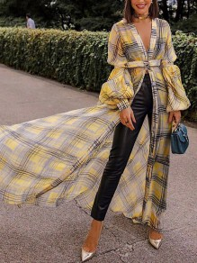 Yellow Plaid Belt V-neck Lantern Sleeve Party Maxi Dress