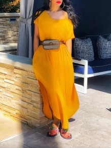 Yellow One Off Shoulder High-Low Kont Casual Maxi Dress