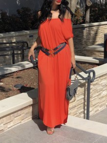 Orange One Off Shoulder High-Low Kont Casual Maxi Dress