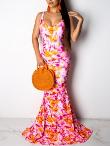 Pink Tie Dyeing Spaghetti Strap Backless Bodycon Mermaid Prom Evening Party Maxi Dress