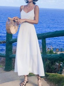 White Spaghetti Strap Backless Beaded V-Neck New Fashion Women Casual Holiday Flowy Midi Dress