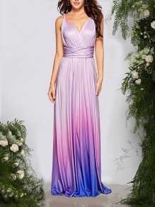 Purple Backless Tie Back Bodycon Gradient Color Multi Way Party Maxi Dress
