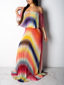 Rainbow Striped Print Ruffle Pleated Off Shoulder Backless Bohemian Maxi Dress