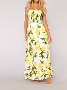 Yellow Lemon Print Ruffle Tie Back Spaghetti Strap Tie Back Fashion Maxi Dress