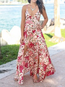 Pink Flowers Print Tie Back Spaghetti Strap Slit Deep V-neck Bohemian Maxi Dress