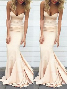 Champagne Bandeau Cocktail Party Sweet One Piece Maxi Dress
