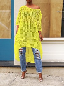 Yellow Grenadine Cut Out One Off Shoulder Irregular High-Low Sheer Party Clubwear Maxi Dress