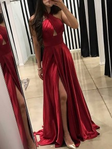 Red Halter Neck Cut Out Pleated Thigh High Side Slits Prom Evening Party Maxi Dress