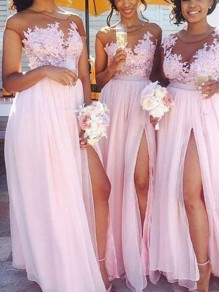 Pink Patchwork Lace Pleated Thigh High Side Slits Prom Evening Party Maxi Dress