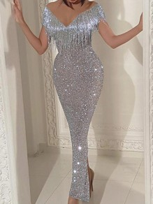 Silver Patchwork Sequin Tassel Off Shoulder Bodycon Mermaid V-neck Sparkly Glitter Birthday Party Maxi Dress