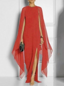 Red Draped Side Slit Round Neck Long Sleeve Fashion Banquet Maxi Dress