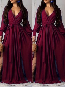 Burgundy Belt Pleated V-neck Thigh High Side Slits Beachwear Party Maxi Dress