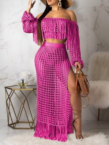Pink Off Shoulder Tassel Cut Out Two Piece Side Slits Sheer Beachwear Party Maxi Dress