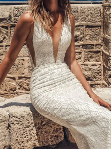 White Bright Wire V-neck Fishtail Backless Mermaid Elegant Bride Wedding Gowns Maxi Dress