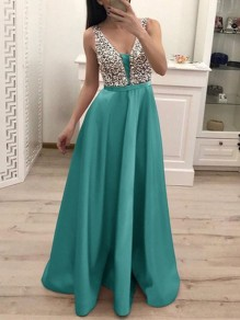 Green Patchwork Sequin Pleated Backless V-neck Sparkly Glitter Birthday Prom Evening Party Maxi Dress