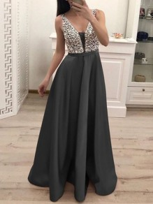 Dark Grey Patchwork Sequin Pleated Backless V-neck Sparkly Glitter Birthday Prom Evening Party Maxi Dress