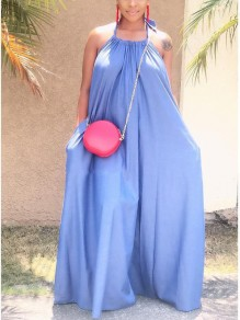 Light Blue Halter Neck Pleated Backless Pockets Bohemian Beachwear Party Maxi Dress