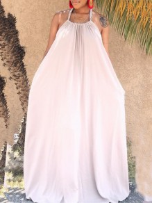 Beige Halter Neck Pleated Backless Pockets Bohemian Beachwear Party Maxi Dress