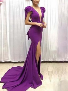 Purple Deep V-neck Puff Sleeves Side Slit Mermaid Formal Homecoming Party Ball Gown Maxi Dress