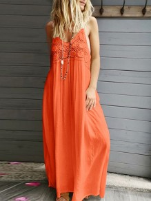 Orange Patchwork Lace Condole Belt V-neck Bohemian Maxi Dress