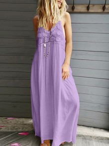 Purple Patchwork Lace Condole Belt V-neck Bohemian Maxi Dress