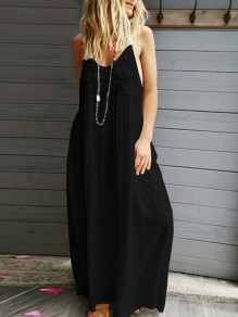 Black Patchwork Lace Condole Belt V-neck Bohemian Maxi Dress