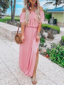 Pink Patchwork Ruffle Slit Boat Neck Bohemian Maxi Dress