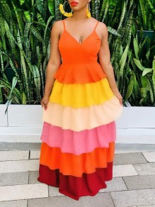 Orange Patchwork Colorful Cascading Ruffle Shoulder-Strap V-neck Party Maxi Dress