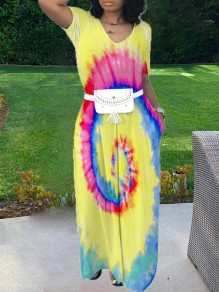 Yellow Africa Tie Dye Print Pockets V-neck Short Sleeve Off Shoulder Big Swing Maxi Dress