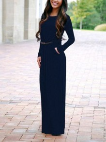 Blue Pockets Long Sleeve Floor Length Casual Women Maxi Dress
