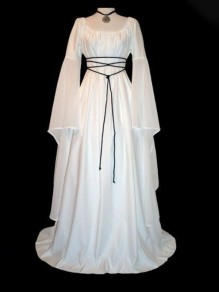 White Lace Up Pleated Round Neck Victorian Retro Gothic Party Maxi Dress