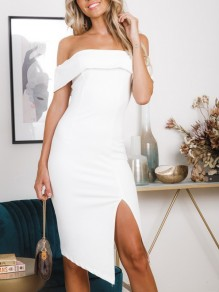 White Irregular Side Slit Off Shoulder Short Sleeve Cocktail Party Midi Dress
