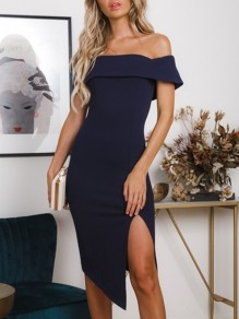 Sapphire Blue Irregular Side Slit Off Shoulder Short Sleeve Cocktail Party Midi Dress