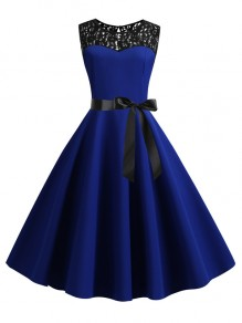Sapphire Blue Patchwork Lace Sashes Big Swing A-Line Cocktail Party Midi Dress