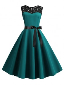 Dark Green Patchwork Lace Sashes Big Swing A-Line Cocktail Party Midi Dress