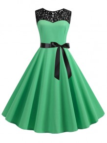 Green Patchwork Lace Sashes Big Swing A-Line Cocktail Party Midi Dress