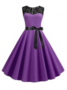 Purple Patchwork Lace Sashes Big Swing A-Line Cocktail Party Midi Dress