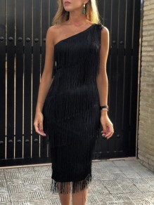 Black Patchwork Tassel Asymmetric Shoulder Tiered Bodycon Party Midi Dress