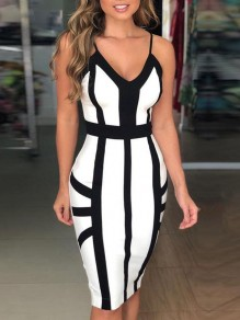 White-Black Patchwork Strappy Cocktail Party One Piece Midi Dress