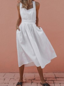 White Pockets Cut Out Knot Backless Cross Back Square Neck Wedding Guest Midi Dress
