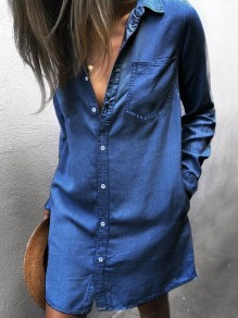 Blue Patchwork Pockets Buttons Turndown Collar Fashion Jeans Midi Dress