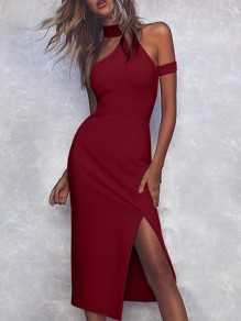 Wine Red Patchwork Cut Out Irregular Halter Neck Party Midi Dress