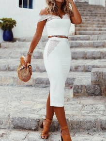 White Patchwork Lace 2-in-1 Off Shoulder Party Midi Dress
