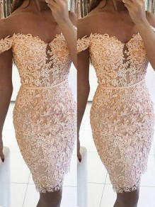 Pink Patchwork Lace Off Shoulder Bodycon Comfy Party Midi Dress