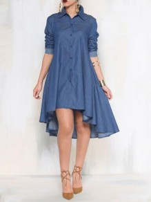 Blue Patchwork Buttons Irregular Pockets Turndown Collar Fashion Jeans Midi Dress