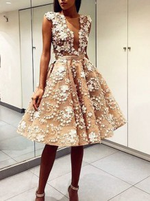 2be10554ab3c White Patchwork Lace Appliques Plunging Neckline Backless Party Tutu  Homecoming Party Midi Dress