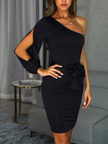 Black Sashes Bow Cut Out Asymmetric Shoulder Cocktail Party Midi Dress